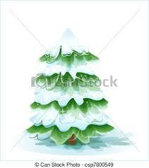 Christmas Tree Covered With Deep Snow