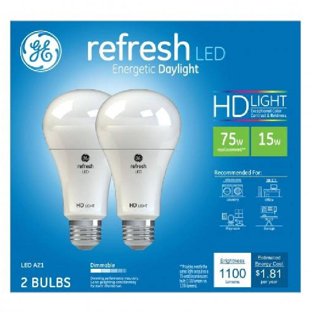 GE A21 Refresh Led Hd Bulb - Daylight, 75w, 2pk