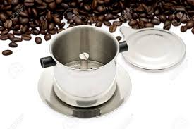 French Drip Coffee Filter Traditionally Used To Make Vietnamese Iced With Beans