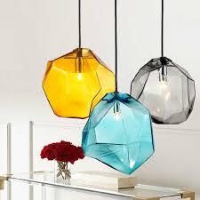 nordic anhänger licht bunte stein glas leuchte suspendu