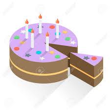 Isolated Slice of Birthday Cake Geometric Stock Vector