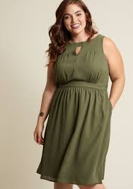 chiffon keyhole a line dress with pockets in olive modcloth