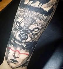 Alpha Wolf With Women Face Tattoo Design