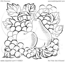 Clipart Black And White Apple Pear And Grapes Royalty Free Vector Illustration by Vector Tradition SM