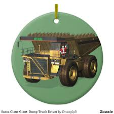 Santa Claus Giant Dump Truck Driver Ceramic Ornament
