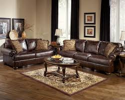Rustic Living Room Design With Dark Brown Leather Couch Sets 4 Pieces