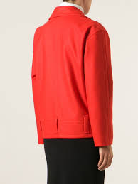 sonia by sonia rykiel oversized biker jacket in red lyst