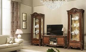 wohnzimmer komplett set 3 teile holz glas nussbaumfarbe klassisch italienisch