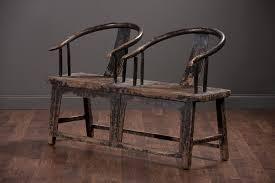 Antique Rustic Elm Wood Bench