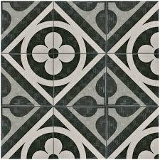 somertile 6x6 inch zona flower black porcelain floor and wall tile