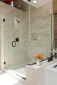 crema marfil tile bathroom traditional with glass shower large