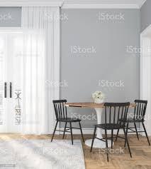 klassischer grauer leerer innenraum mit esstisch stühlen vorhang holzboden und blumen 3d rendern illustration stockfoto und mehr bilder boden