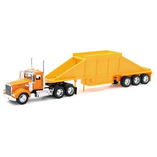 New Ray 10513 Kenworth W900 Tractor with 3 Axle Belly Dump Trailer