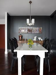 Black Dining Room With White Farmhouse Table   HGTV Best Small Kitchen Ding Tables Chairs For Spaces Remarkable Plastic Covers For Room Rooms Excellent Leather Arm Chair Surprising Fniture Upholstered Elegant Luxurious Black And White Ding Room With Table Ghost Strong Swivel Contemporary Palm On Wooden Cupboard Next To The Window In Big Wicker Lampshade Haing Above Modern Leather Chairs Cultivandoayudaco Kyla Kd Pu Rose Gold Legs White Npd