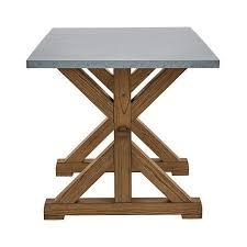 Tatum Zinc Wood Trestle Dining Table
