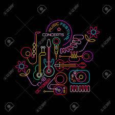 Neon Colors On A Black Background Music Festival Concerts Vector Illustration Line Art Poster Design
