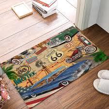 retro route 66 poster badezimmer zubehör set schmutz schutt schlamm trapper boot schuhe schaber bereich läufer personalisierte tür matten