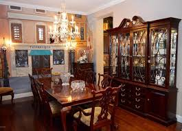 Breakfront Vs China Cabinet by Traditional Dining Room With High Ceiling U0026 Interior Wallpaper In