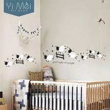 autocollant chambre bébé modèle noir saut moutons sticker adhésifs muraux nuit de sommeil