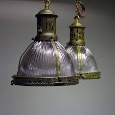Decorative Metal Lamp Banding by Pair Of Brass Holophane Ceiling Lights In From Cubbit Antiques