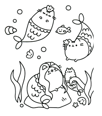 Pusheen Coloring Pages Mermaid Printable Sheet Pictures
