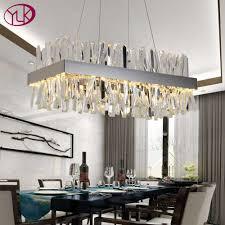 youlaike moderne kristall kronleuchter für esszimmer rechteck design küche insel leuchten chrome led cristal lustre