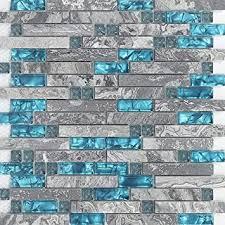 hominter 11 blätter grau marmor backsplash wandfliesen blaugrün glas badezimmer dusche fliesen zufällige ineinandergreifende muster mosaik für küche