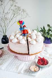 vegan birthday sponge cake with strawberry