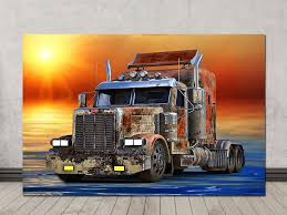 100 Semi Truck Engine Truck Art Construction Posters Old Truck Art Print Etsy
