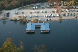 Scottys Trout Dock Aerial View Shows Lakeside RV Park In Background