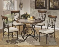 Round Dining Room Set For 4 by Hopstand Round Dining Table And 4 Uph Side Chairs D314 01 4 15b
