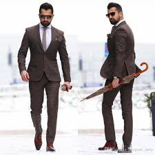 2018 Vintage Wood Two Pieces Mature Men Suits Plus Size Groom Wear Tuxedos Cheap Brown Mens Wedding Suit Custom Made Designer Dress For From