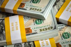 Background New 100 US Dollars 2013 Banknotes Stock