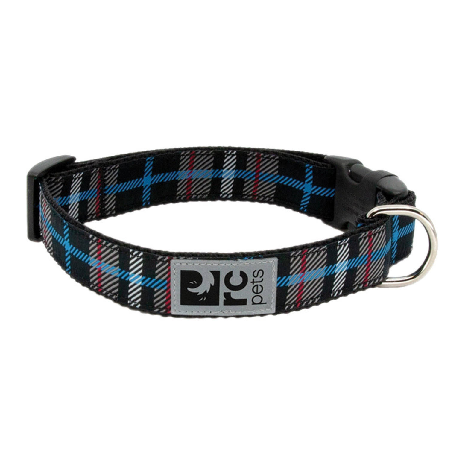 Black Twill Plaid Adjustable Clip Dog Collar by RC Pet - Medium