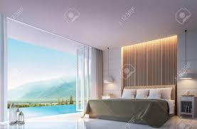 modernes schlafzimmer mit bergblick 3d rendering bild es gibt grenzloses schwimmbad es gibt große offene tür mit blick auf die umliegende natur und