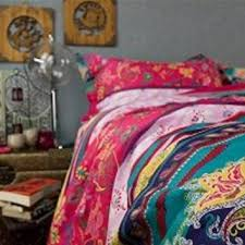 FADFAY Boho Bedding Set Colorful Stripes Bed Rustic Vintage Floral Duvet Covers Fu
