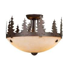 Flush Mount Ceiling Fans by Yellowstone Indoor 2 Light Rustic Ceiling Fan Light Kit Or Semi