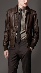 burberry leather bomber jacket in brown for men lyst