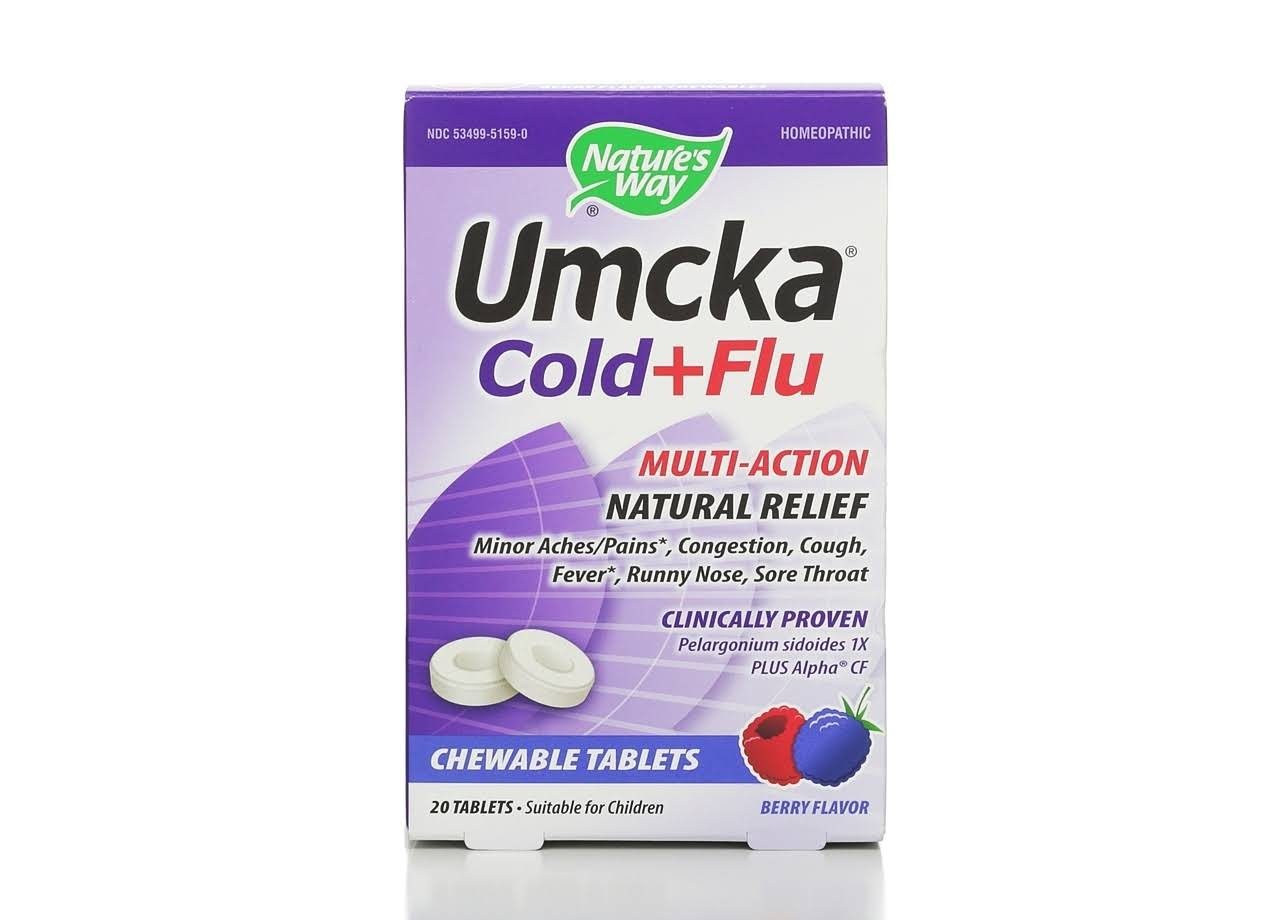 Nature's Way Umcka Cold + Flu - 20 Chewable Berry Tablets