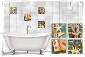 fliesen aufkleber spa wellness seestern tau seil kompass holz grün bad wc deko