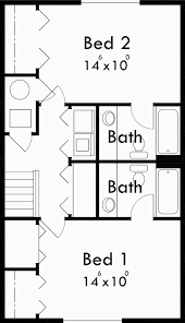 Small Duplex Floor Plans by Narrow Lot Duplex House Plans 2 Bedroom Duplex House Plan D 503