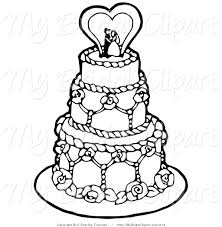 Bridal Clipart of a Coloring Page of a Black and White Tiered Wedding Cake with a