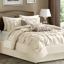 Vince Camuto Bedding by New Bed Bag Cal King Queen Full 7 Pc Ivory Cream Pinch Pleat