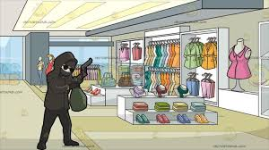 A Professional Robber Carrying Bag Of Money At Clothing Store For Women