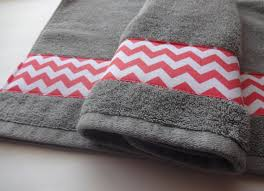 Gray Chevron Bathroom Decor by Set Of 2 Coral And Grey Hand Towels Hand Towels Towel Set