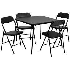 5pc Folding Square Table Set Black - Riverstone Furniture ...