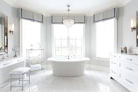 Chandelier Over Bathroom Sink by Bathroom Bay Windowwhite Marble Floors Bathroom Traditional With