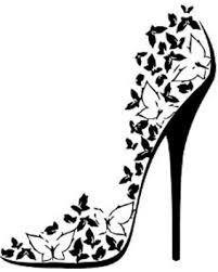 Butterfly High Heel Shoe Mural Vinyl Wall Art Black
