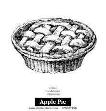 Hand drawn sketch homemade organic apple pie dessert Vector black and white vintage illustration