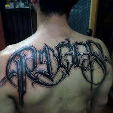 Unique Last Name Lettering Male Upper Back Tattoo Ideas